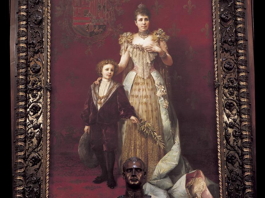 Retrato de la Reina Maria Cristina y Alfonso XIII (1888) en el salón de la Reina Regent. Francesc Masriera i Manovens. Ayuntamiento de la ciudad.  (Imagen M.A.S.)
