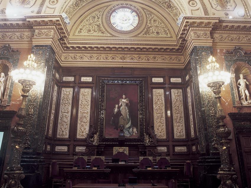 Salón de la Reina Regent (1869). Francesc Daniel Molina i Casamajó. Ayuntamiento de la ciudad.  (Imagen M.A.S.)