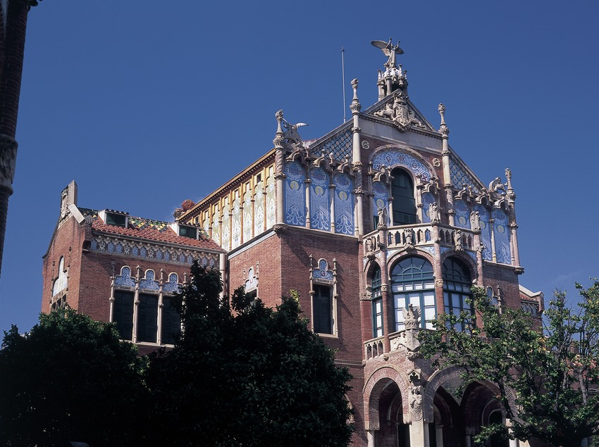 Pabellón central del hospital de Sant Pau de Domènech i Montaner.  (Imagen M.A.S.)