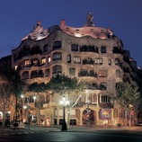 Night view of Casa Milà, La Pedrera.