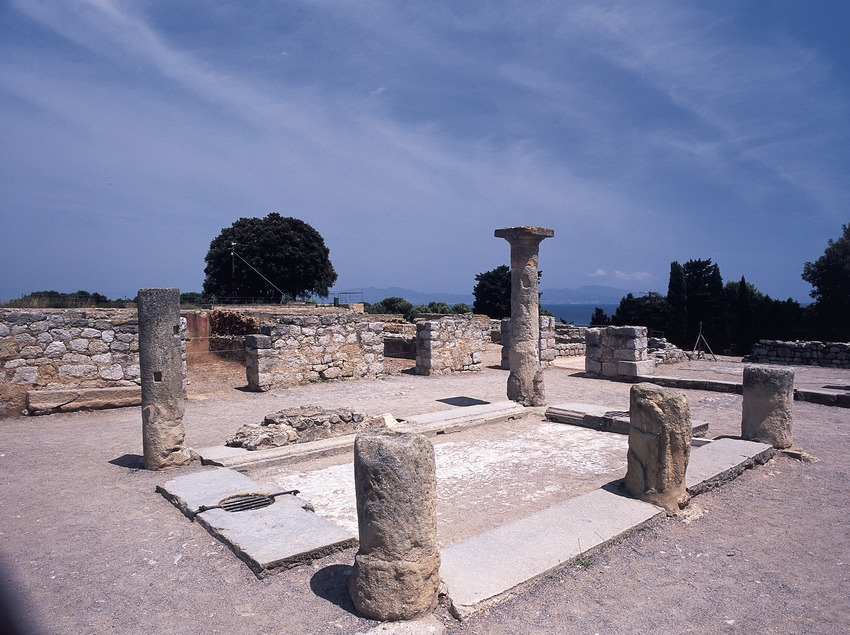 Roman city ruins in the archaeological park of Empúries.