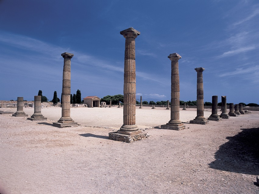 Fòrum de la ciutat romana al parc arqueològic d'Empúries.