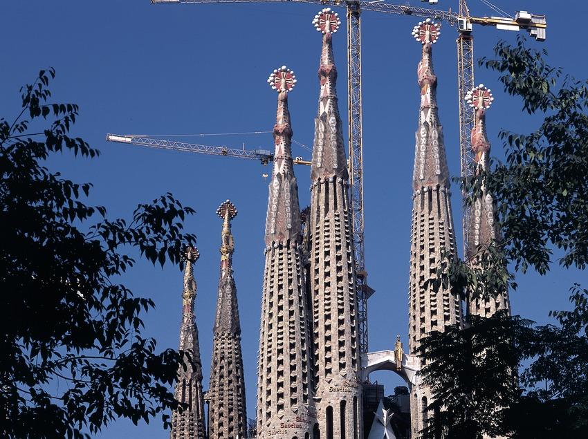 Bell towers of the Expiatory Church of La Sagrada Familia.