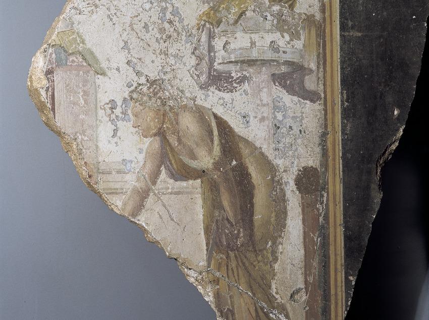 Fragmento de pintura mural en el Museo de Arqueología de Catalunya-Empúries.  (Imagen M.A.S.)