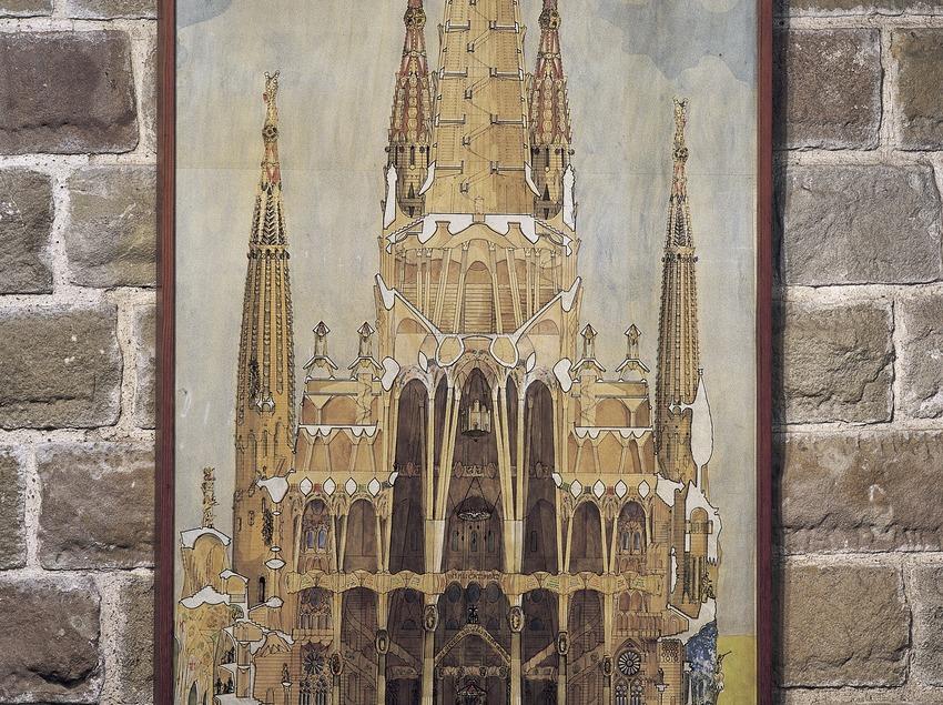 Dibuix lateral del temple. Museu del Temple Expiatori de la Sagrada Família. (Imagen M.A.S.)