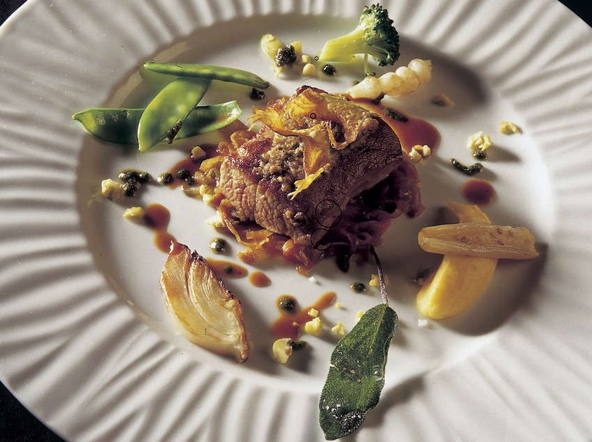 Rabbit with chestnuts and wild mushrooms.