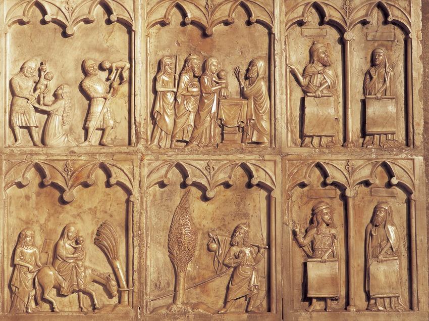 Detalle del retablo de la Virgen Blanca (1343). Monasterio de Sant Joan de les Abadesses  (Imagen M.A.S.)