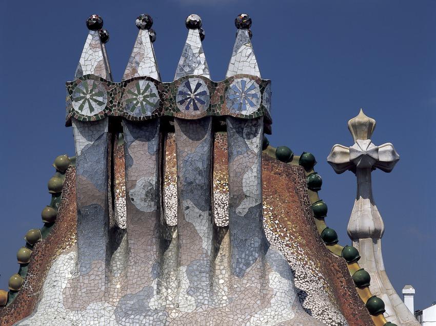 Chimneys, roof and tower of Antoni Gaudí's Casa Batlló.