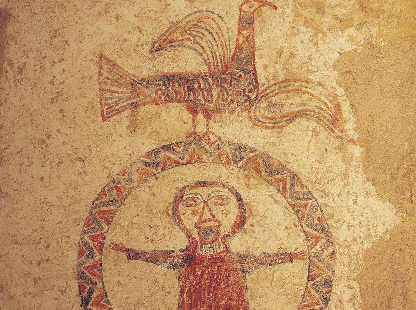 Pintura mural (segle XI) procedents de Sant Quirze de Pedret. Museu Diocesà i Comarcal de Solsona.  (Imagen M.A.S.)