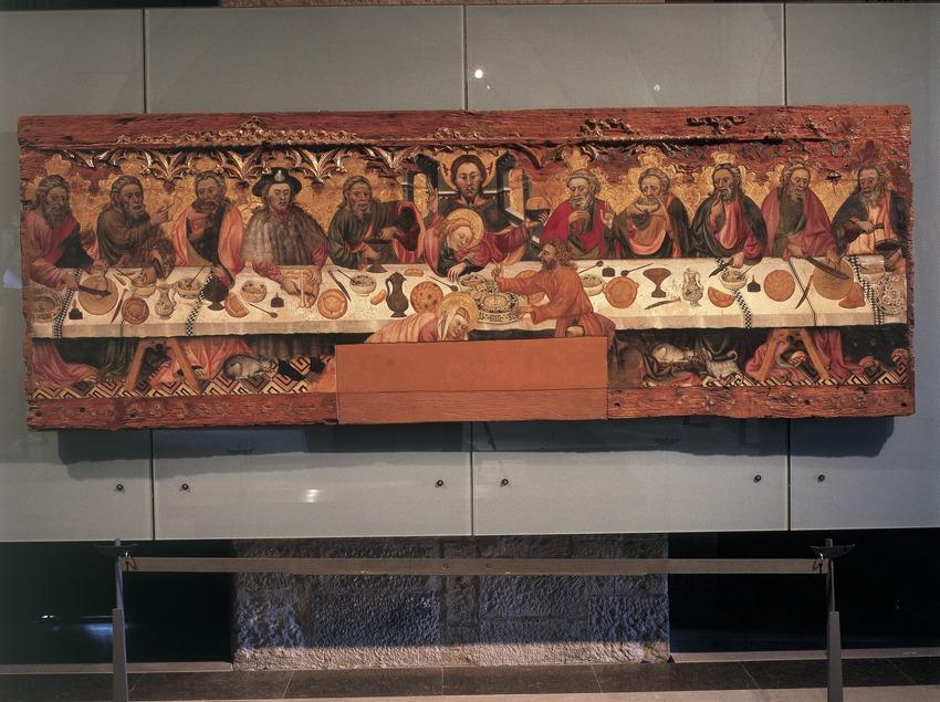 Tabla de la Santa Cena (siglo XV) procedente de Santa Constança de Linya. Jaume Ferrer I. Museo Diocesano y Comarcal de Solsona.  (Imagen M.A.S.)