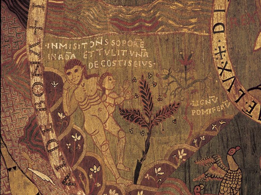 Detalle del tapiz de La Creación (siglo XI). Tesoro de la Catedral de Girona.  (Imagen M.A.S.)