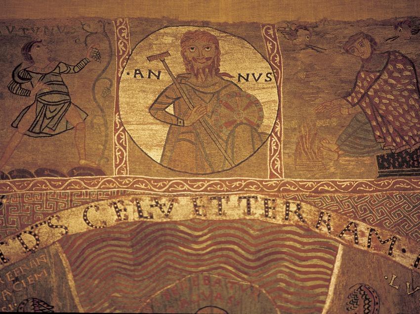 Detall del tapís de La Creació (segle XI). Tresor de la Catedral de Girona.  (Imagen M.A.S.)