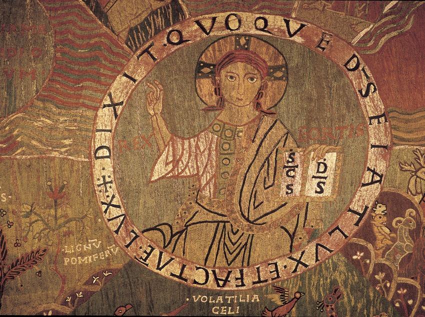 Detall central del tapís de La Creació (segle XI). Tresor de la Catedral de Girona.  (Imagen M.A.S.)
