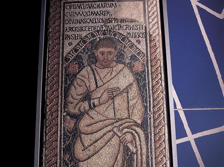 Mosaic (segle III d.C.) procedent de la necròpolis paleocristiana. Museu Nacional Arqueològic de Tarragona.  (Imagen M.A.S.)