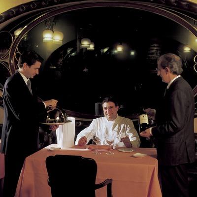 Josep Monge, Josep Monge Jr. i José Muniesa, xefs del restaurant Via Veneto.
