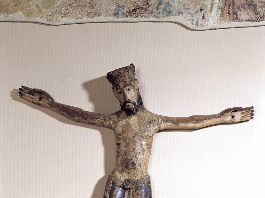 Crist policromat (segle XIII). Museu de Sant Cugat  (Imagen M.A.S.)