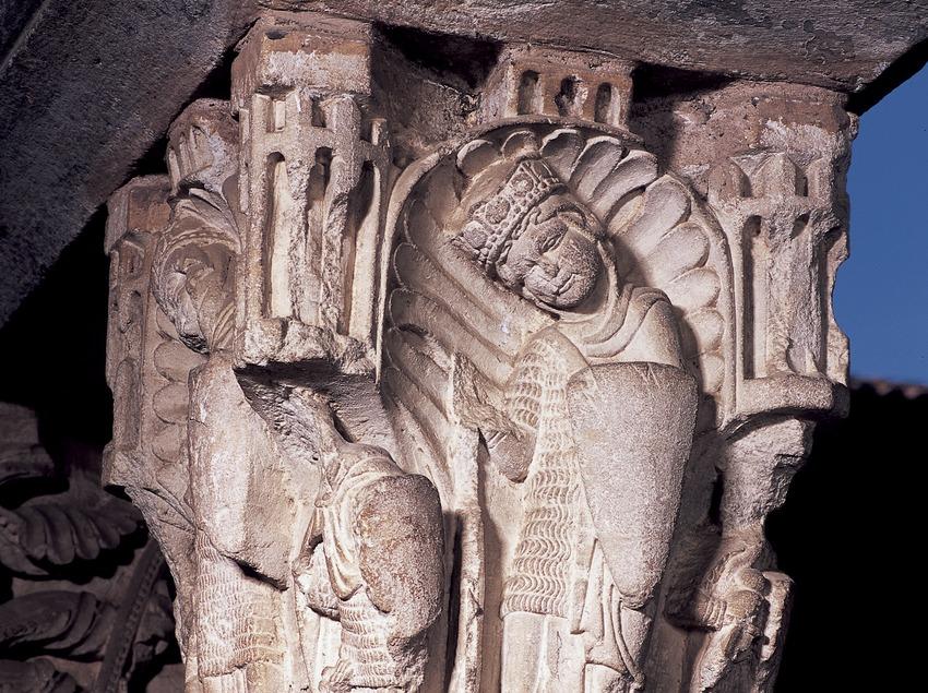 Capitel del claustro (siglo XII). Arnau Cadell. Monasterio de Sant Cugat d'Octavià  (Imagen M.A.S.)