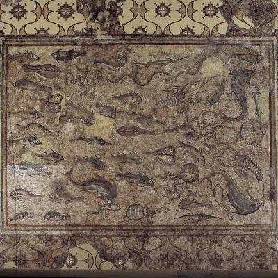 Mosaico de los peces (siglo III d.C.) procedente de la villa romana de Pineda. Museo Nacional Arqueológico de Tarragona.  (Imagen M.A.S.)