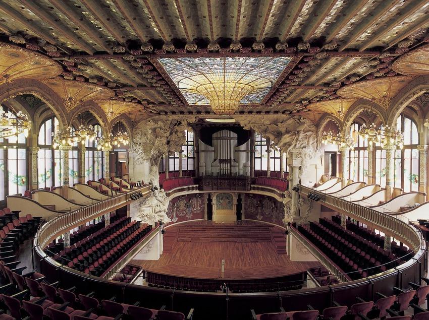 Interior del Palau de la Música Catalana de Domènech i Montaner.  (Imagen M.A.S.)