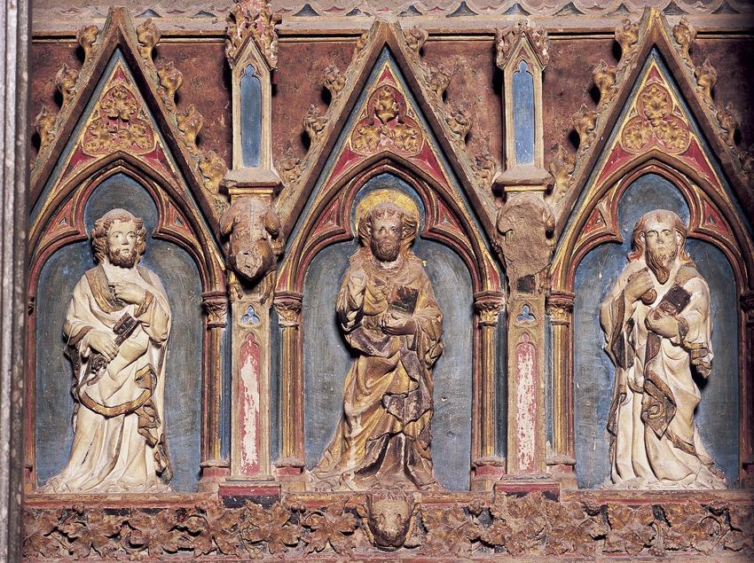 Detalle del mausoleo de Pere el Gran en la iglesia del Real Monasterio de Santes Creus.  (Imagen M.A.S.)