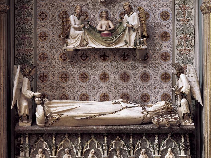 Detalle del sepulcro de la reina Elisenda de Montcada (siglo XIV). Museo-Monasterio de Pedralbes. (Imagen M.A.S.)