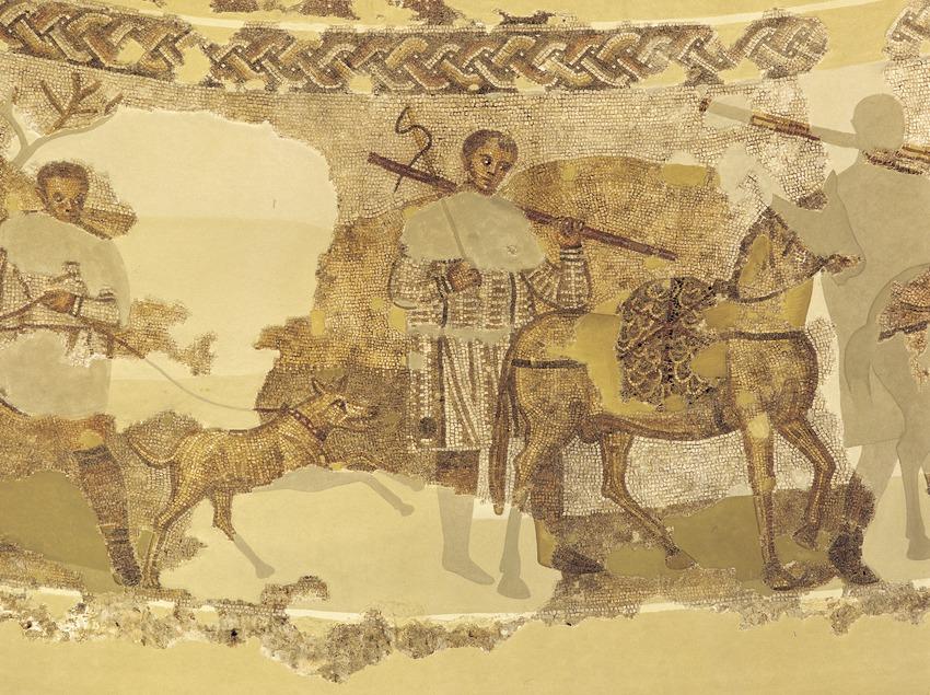 Mosaico con escena de caza (siglo IV) de la villa de Centcelles