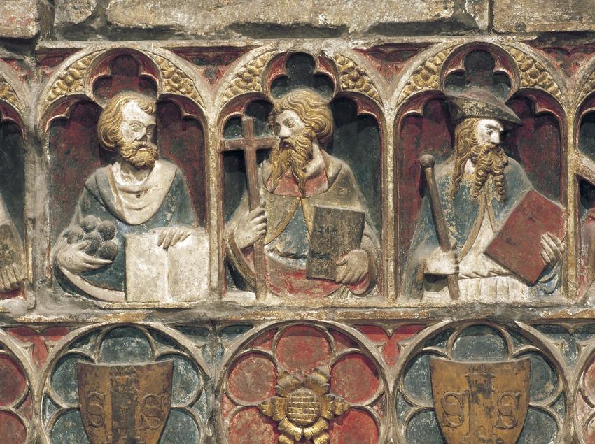 Detalle del retablo de San Lorenzo (siglo XIV). Jaume Cascalls. Iglesia de Sant Llorenç.  (Imagen M.A.S.)