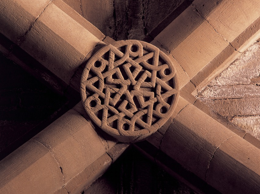 Keystone of the vault in the chapter house of the Royal Monastery of Santa Maria de Vallbona.