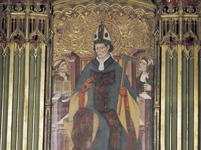 Tabla central del retablo de Sant Blai (siglo XV). Mateu Ferrer. Iglesia de Sant Llorenç.  (Imagen M.A.S.)