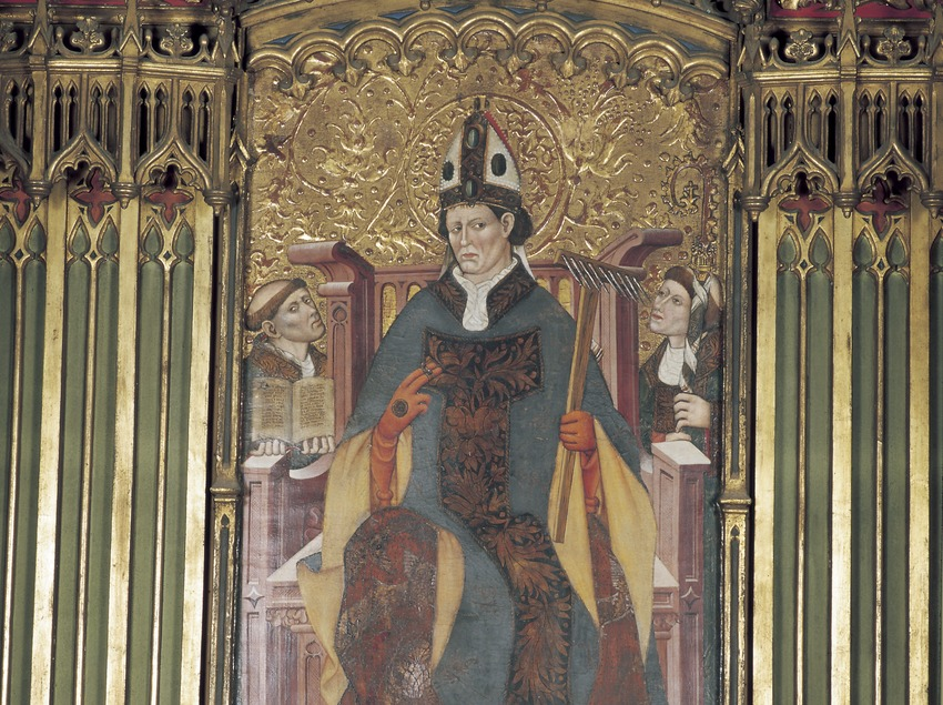 Taula central del retaule de Sant Blai (segle XV). Mateu Ferrer. Església de Sant Llorenç.  (Imagen M.A.S.)