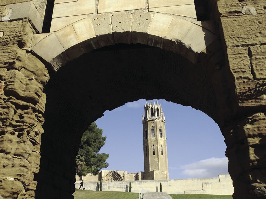 Bell tower of La Seu Vella and Baluarte portal.  (Miguel Raurich)