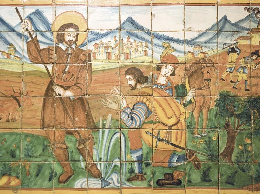 Escena agrària en unes rajoles de ceràmica. Casa Museu Duran i Sanpere-Museu Comarcal de Cervera  (Servicios Editoriales Georama)