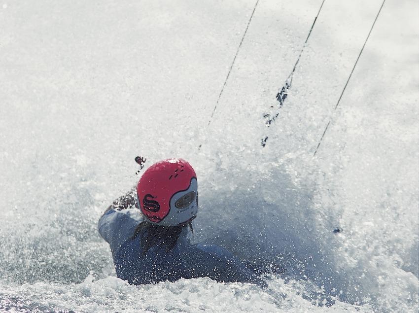 Kite surfing.