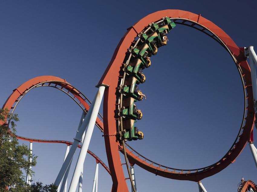 """Dragon Khan"" attraction in Port Aventura."
