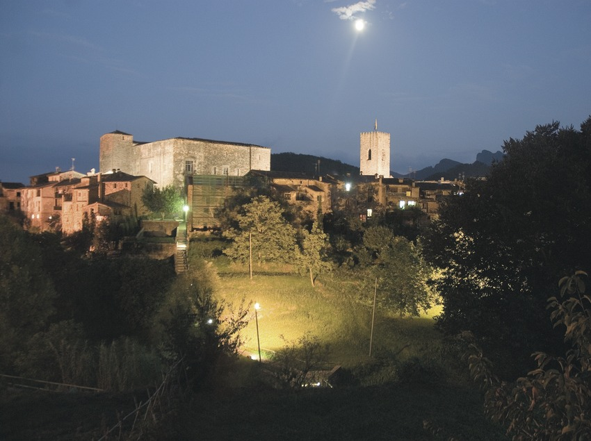 Night-time view of the historic centre