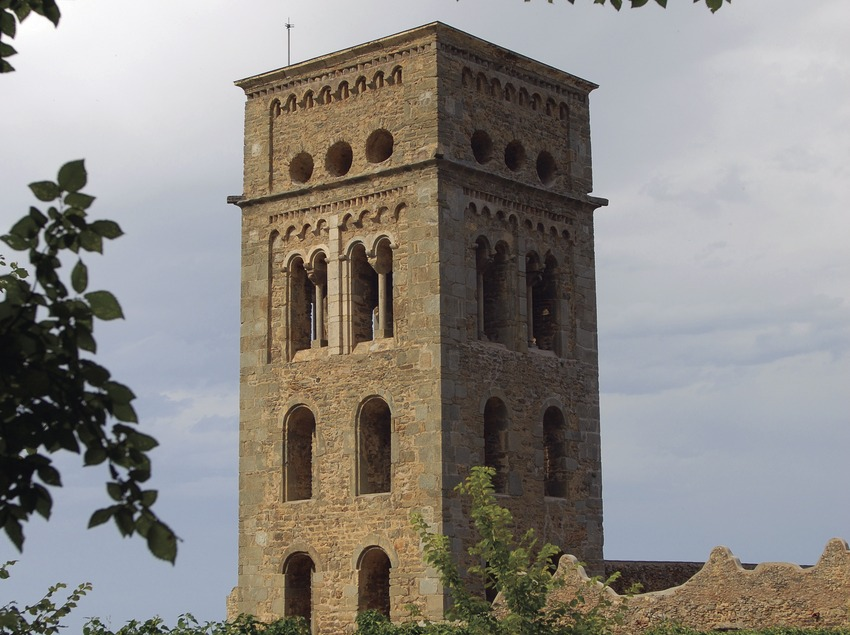 Bell tower of Sant Pere de Rodes monastery in Cap de Creus Natural Park