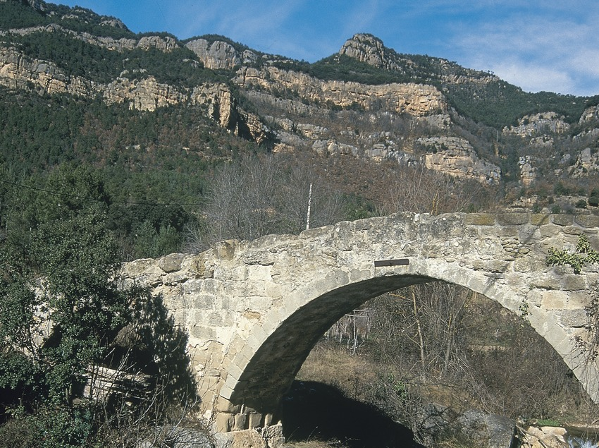 Medieval bridge over the river Llobregat