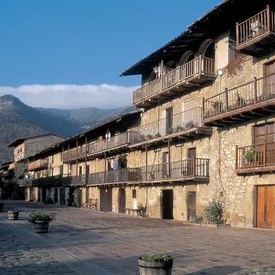 Traditional wooden balconies along the old road from Olot to Vic