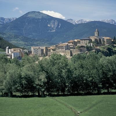 Campos de pastos en el valle del Segre y vista de la localidad